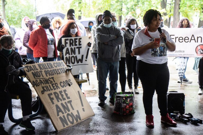 Anthony Smith's friend Jasmine Peake recalled meeting Smith on her first day of college at a protest demanding the release of the Philadelphia activist. (Kimberly Paynter/WHYY)