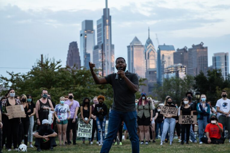 Anthony Smith during a Philadelphia protest in September 2020. (Kimberly Paynter/WHYY)