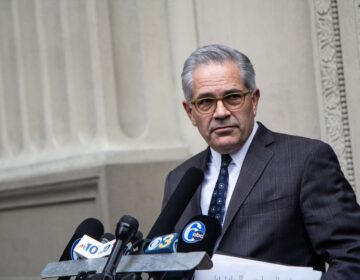 Philadelphia District Attorney Larry Krasner called the video of Walter Wallace Jr.'s shooting by police, concerning at a press conference Tuesday afternoon. (Kimberly Paynter/WHYY)