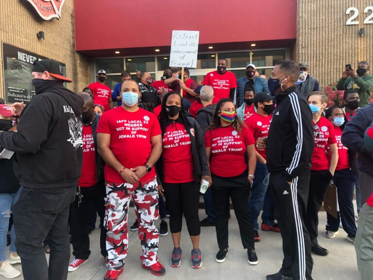 IAFF 22 Firefighters and EMTs protest their union's endorsement of Trump without their knowledge or consent. (Robby Brod /WHYY)
