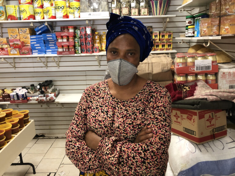 Korkor Kamara, owner of Kamara African foods on Woodland Avenue in Southwest Philadelphia. (Miles Bryan/WHYY)