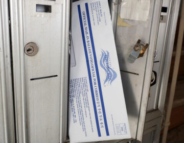 Oct. 2, 2020: A mail-in ballot for the Nov. 3 election in a mailbox in Rutherford. (AP Photo/Ted Shaffrey)