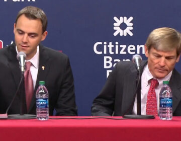 Phillies General Manager Matt Klentak (left) and  Phillies owner John Middleton. (NBC Sports)