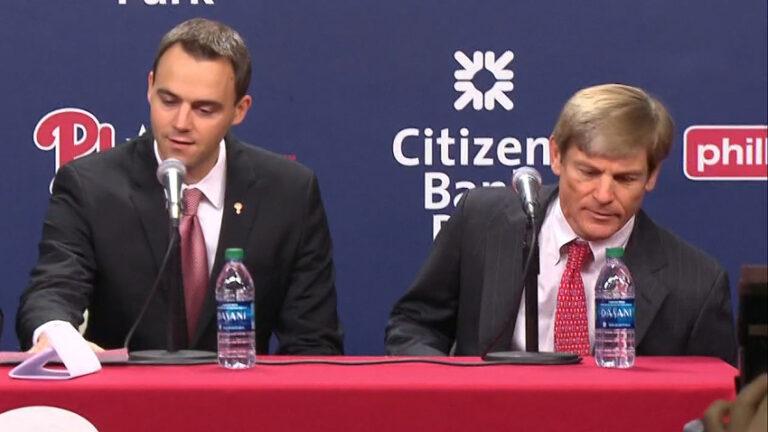 Phillies General Manager Matt Klentak (left) and  Phillies owner John Middleton. (NBC Sports)