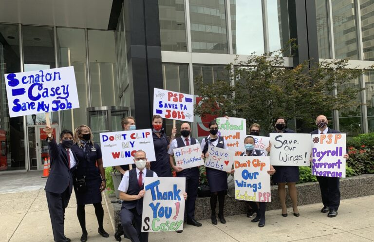 Airline workers held a rally outside Sen. Bob Casey's office to raise visibility for impending furloughs earlier this year. (Courtesy of Paul Hartshorn, Jr.)