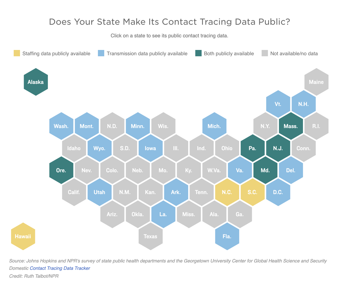 Map of which states make their contact tracing data public
