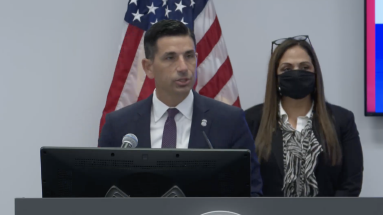 From left, Acting Homeland Security Secretary Chad Wolf and Philadelphia ICE field office director Simona Flores-Lund speak during a press conference on Oct. 16, 2020. (Screenshot)