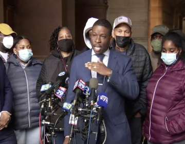 Shaka Johnson, center, lawyer for Walter Wallace Jr.'s family, speaks during a press conference on Oct. 29, 2020. (Screenshot)