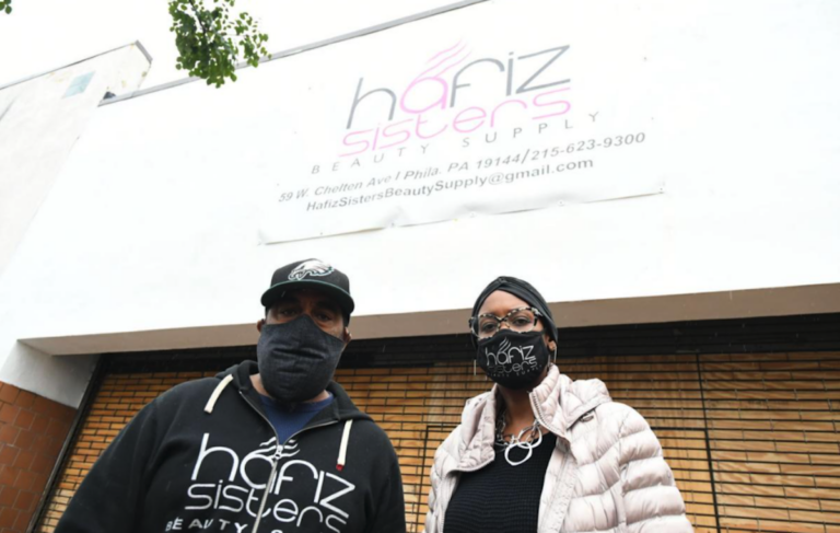 Troy Moore and Atiyya Flournoy, co-owners of Hafiz Sisters Beauty Supply, opened the shop on Chelten Avenue last year, becoming one of few Black-owned beauty product suppliers in the city. (Abdul R. Sulayman / The Philadelphia Tribune)