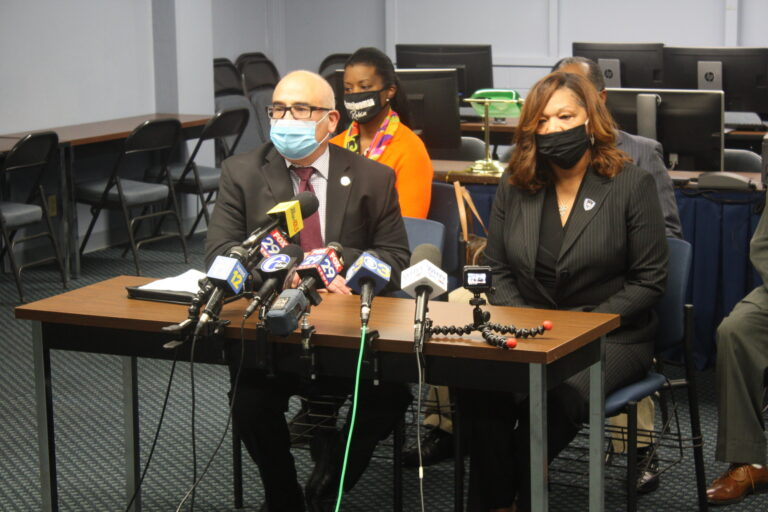 Trenton Mayor Reed Gusciora and Police Director Sheilah Coley speak to reporters in the wake of Tuesday's double homicide