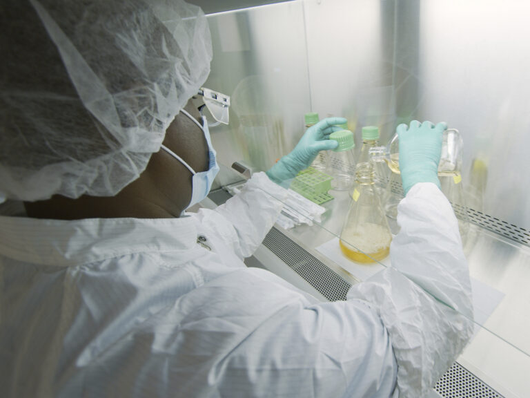 An Eli Lilly researcher tests possible COVID-19 antibodies in a laboratory in Indianapolis. (David Morrison/AP Photo)