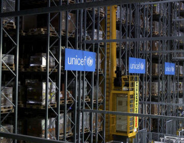 This image taken from video shows the inside of the UNICEF warehouse, the world's largest humanitarian aid warehouse, in Copenhagen, Denmark