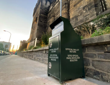 A secure mail ballot drop box outside Eastern State Penitentiary