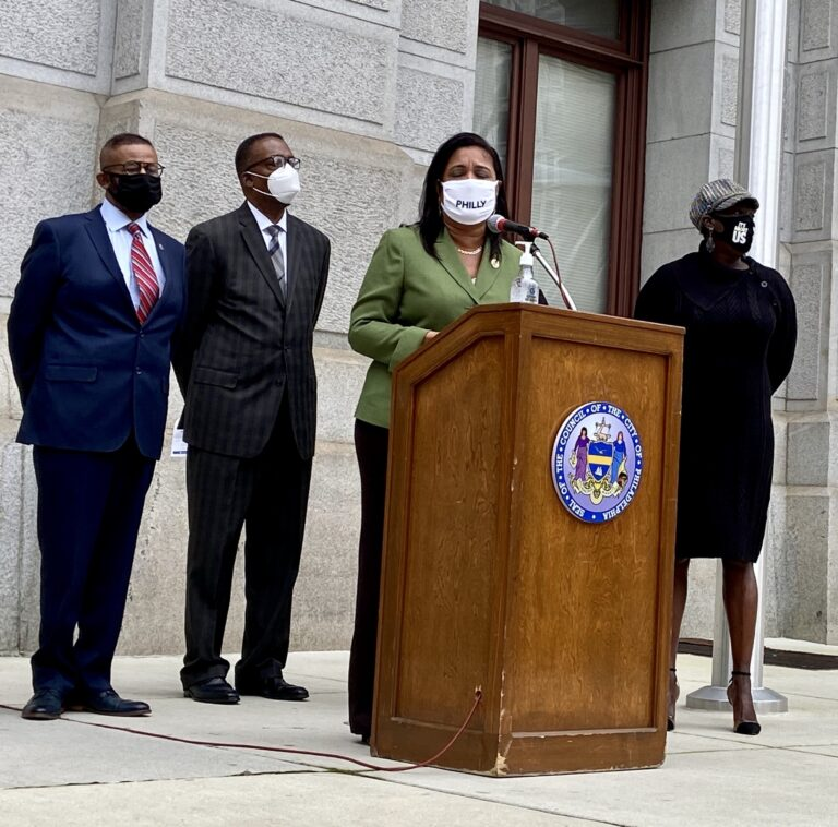 Councilmember Maria Quiñones-Sanchez speaks on Wednesday at a press conference outside City Hall.