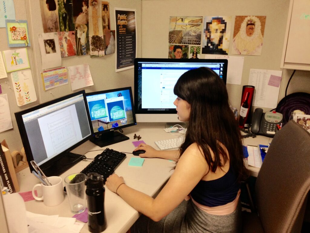 Nicole Cabrera Salazar at work at Georgia State University, where she got her PhD in astronomy. (Courtesy of Nicole Cabrera Salazar)