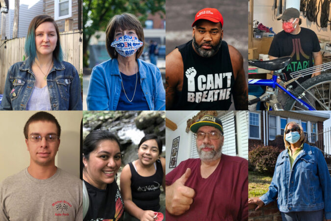 Pennsylvanians (clockwise from top left) Melissa Durko, Marty Wilder, Jamari Davis, Mike Otto, Val Dejesus, Roy Staley, Gabriela Pedroza Sanchez, and Wyatt Schriver, share their hopes and frustrations about the presidential election. (WHYY photographers and provided photos)