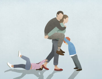 Illustration of mother holding father while two children vie for her attention