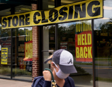 A store displays a sign before closing down permanently following the impact of the coronavirus pandemic, on Aug. 4, 2020 in Arlington, Va. The Small Business Administration's inspector general office said billions of dollars in relief loans may have been handed out to fraudsters or ineligible applicants. (Olivier Douliery/AFP via Getty Images)