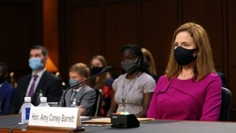 Judge Amy Coney Barrett, President Donald Trumps Supreme Court nominee, during the first day of her Senate confirmation hearing