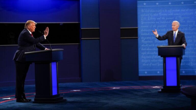 President Trump, left, and former Vice President Joe Biden met for the last presidential debate at Belmont University in Nashville, Tenn. For the most part, it was a civil night. (Brendan Smialowski/AFP via Getty Images)