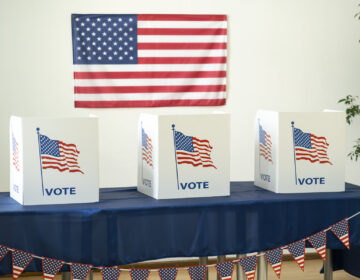 Empty room ready for voting booths for Election Day
