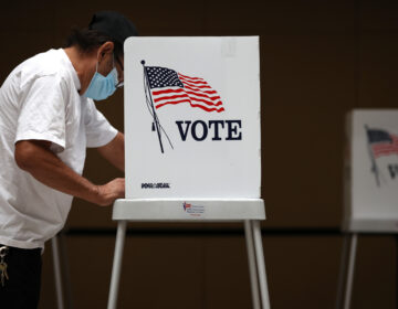 A voter fills out his ballot during early voting
