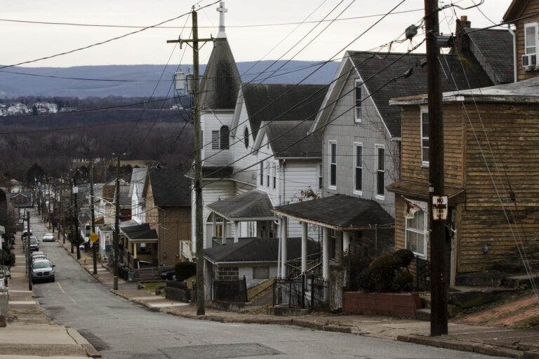 A residential street in Plymouth, Pa. Luzerne County. (Matt Rourke/AP Photo)