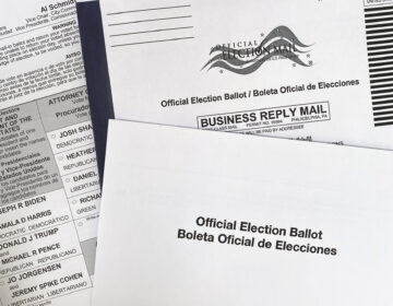 Pennsylvania's mail ballot is pictured alongside both its envelopes.