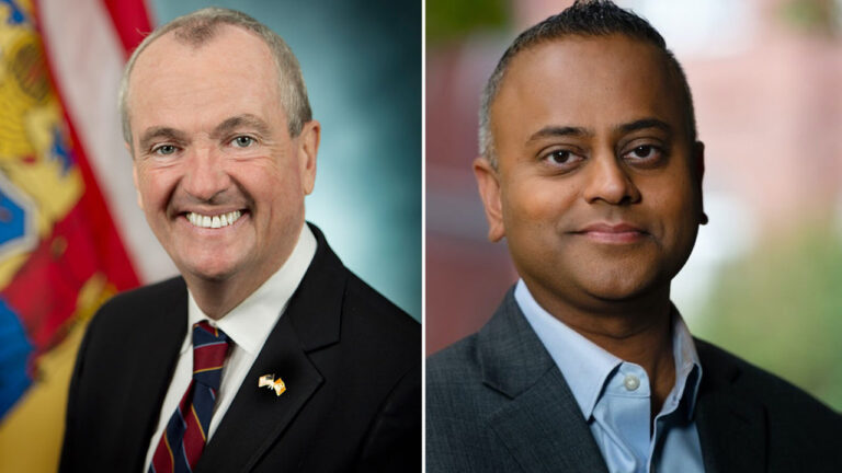 New Jersey Gov. Phil Murphy and New Jersey Republican Senate candidate Rik Mehta