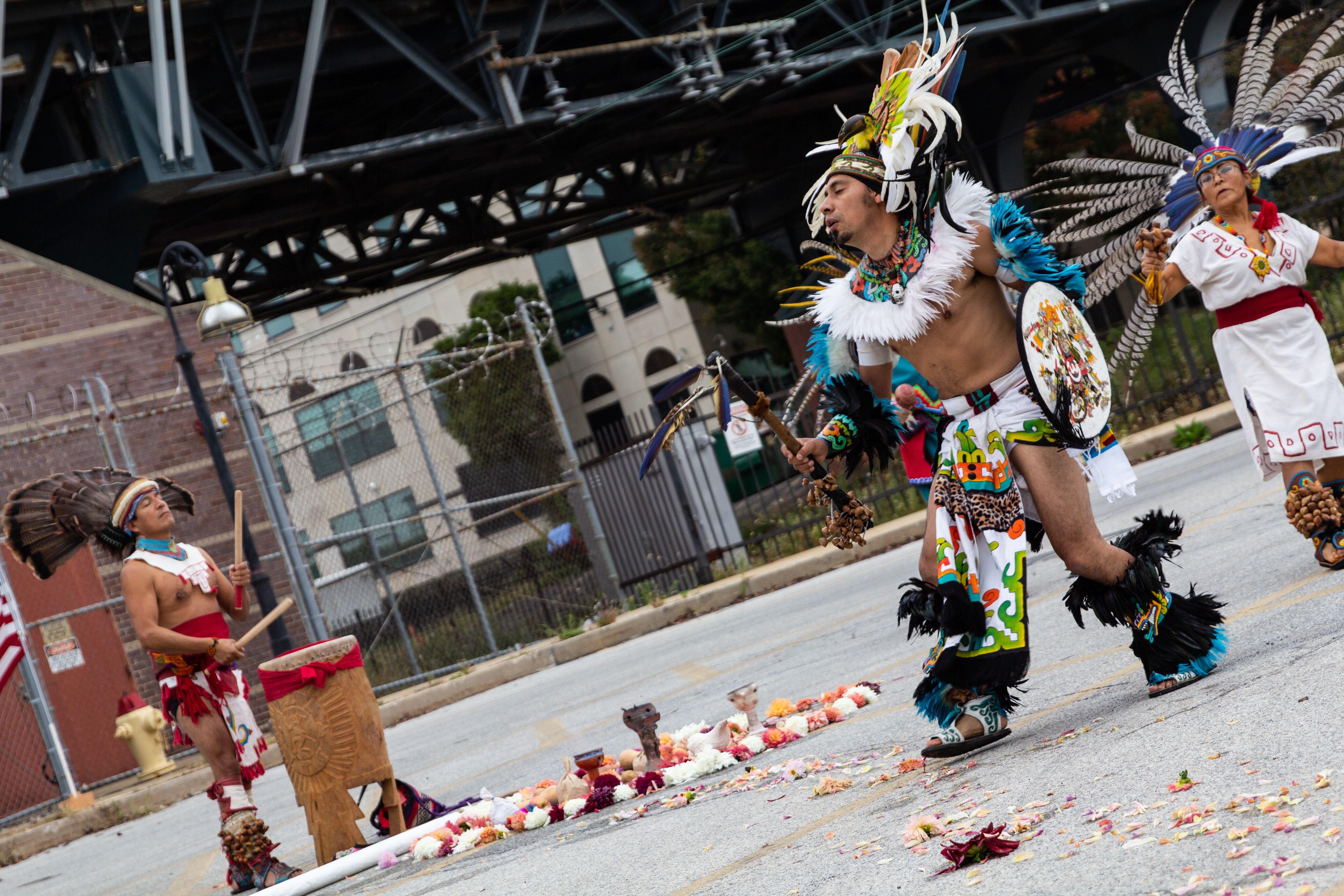 Javier Santamaria dances with Kapulli Kamaxtle Xiuhcoatl,