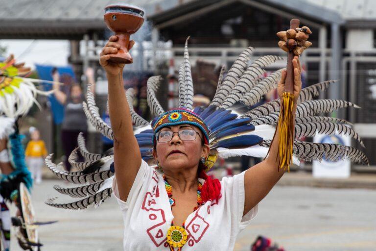 Carmen Guerrero dances with Kapulli Kamaxtle Xiuhcoatl