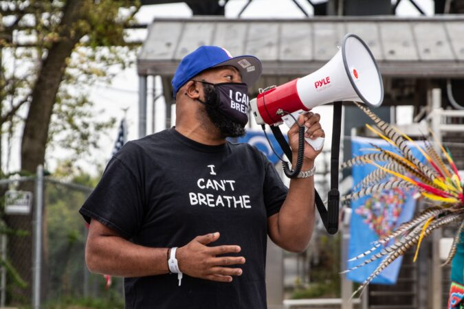 Norristown activist Mark Jones speaks at an Indigenous Peoples' Day rally