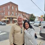 Patrick Grubb and Ramona Pellerito outside Saint Monica Parish in South Philly