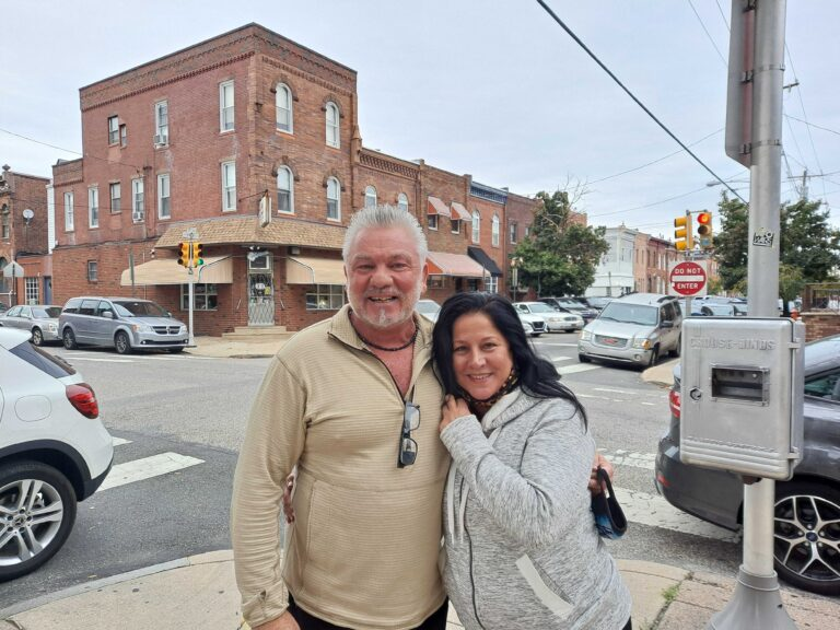 Patrick Grubb and Ramona Pellerito outside Saint Monica Parish in South Philly
