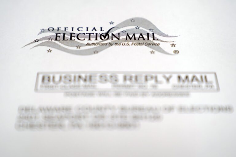 In this Oct. 13, 2020, photo, an envelope of a Pennsylvania official mail-in ballot for the 2020 general election in Marple Township, Pa. (Matt Slocum/AP Photo)