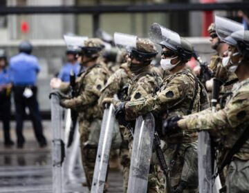 Pennsylvania National Guard and police stand guard in Philadelphia, Wednesday, June 3, 2020. (Matt Rourke/AP Photo)