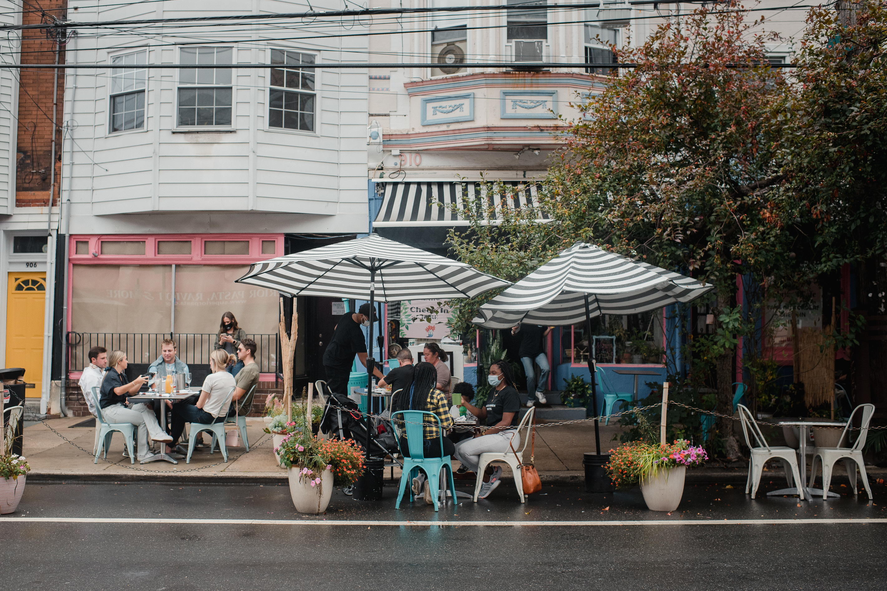 Customers eat outside at Sabrina's Cafe in Philadelphia on Sept. 26, 2020.