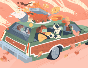 Cartoon graphic of old car driving with masked people inside, turkey, mashed potatoes, pie strapped to top of car.