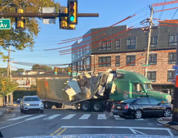 After hitting an overpass on Kelly Drive, the damaged truck was spotted up on Allegheny Avenue