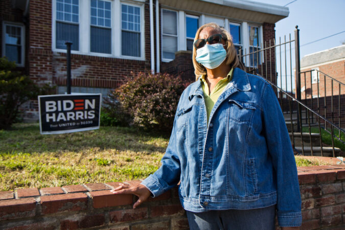 Val Dejesus, 72,  at her home in Philadelphia. She voted by mail for Democratic candidate and former Vice President, Joe Biden. (Kimberly Paynter/WHYY)