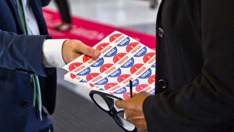 You'll get a sticker if you go to the polls — but also if you drop off a ballot at one of Philly's satellite offices.
