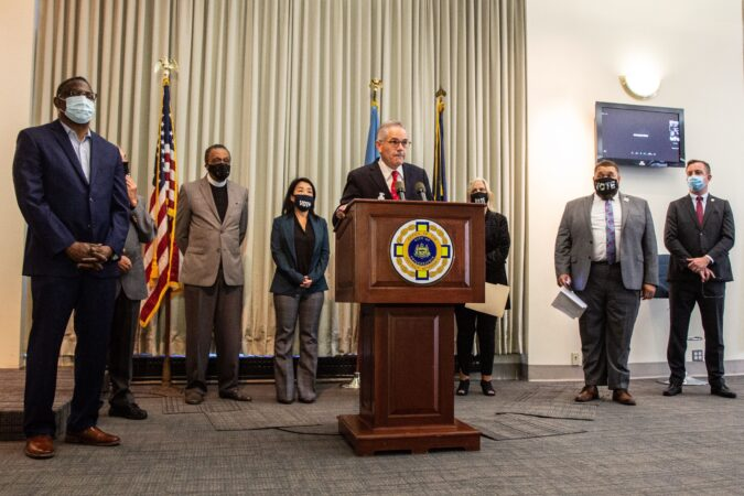 Philadelphia District Attorney Larry Krasner joined by councilmembers, clergy and election officials