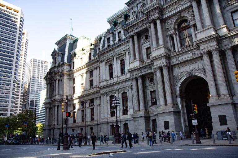 Residents are lined up to voted at City Hall in Philadelphia