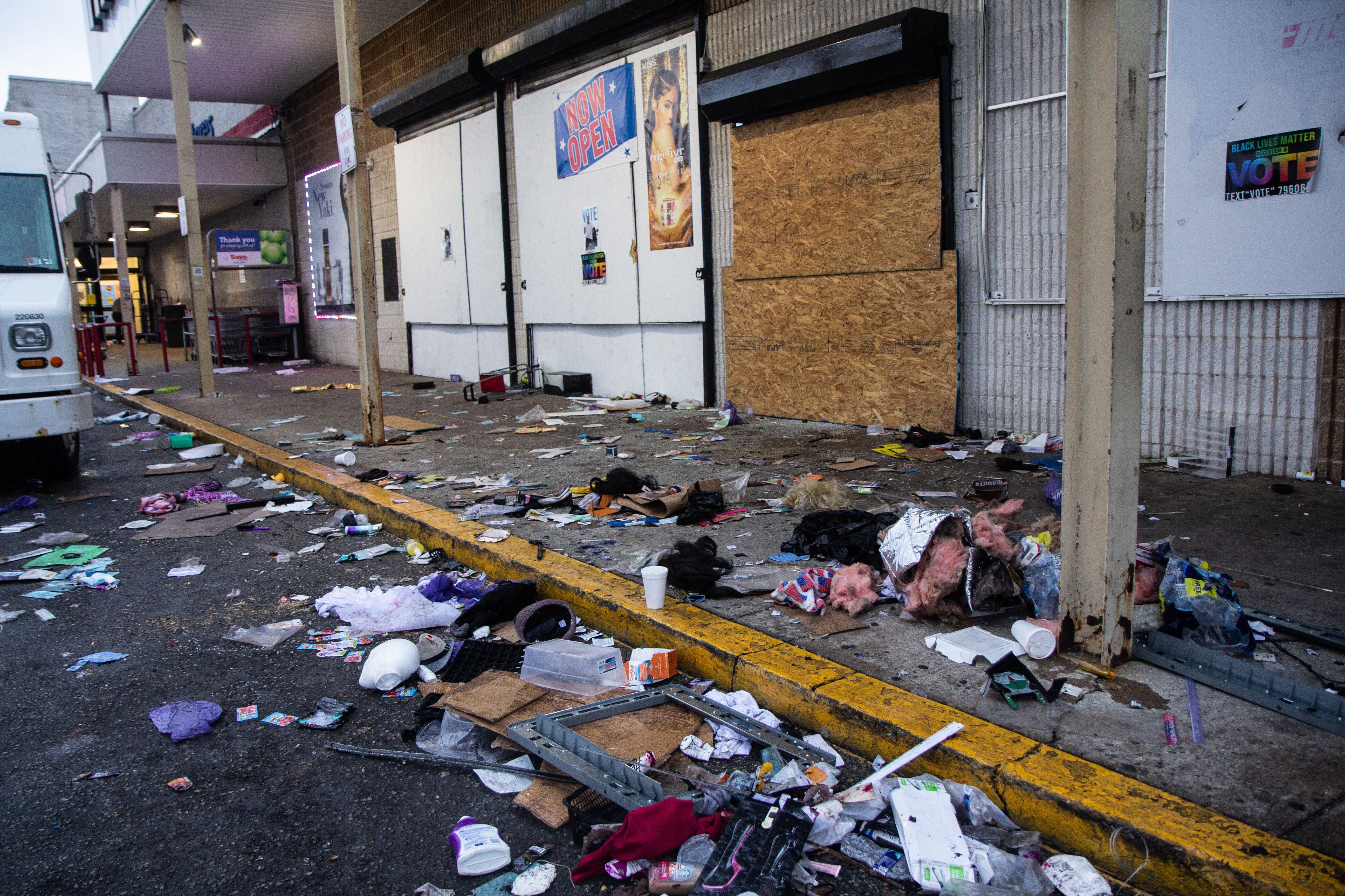 A shopping center at 57th and Vine streets was looted Monday night after Philadelphia police shot and killed Walter Wallace Jr. in West Philadelphia