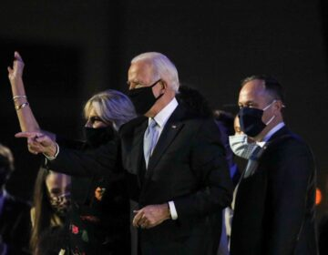 President-elect Joe Biden celebrates after delivering his victory speech Saturday, Nov. 07, 2020, at the Riverfront in Wilmington, Del. (Saquan Stimpson for WHYY)