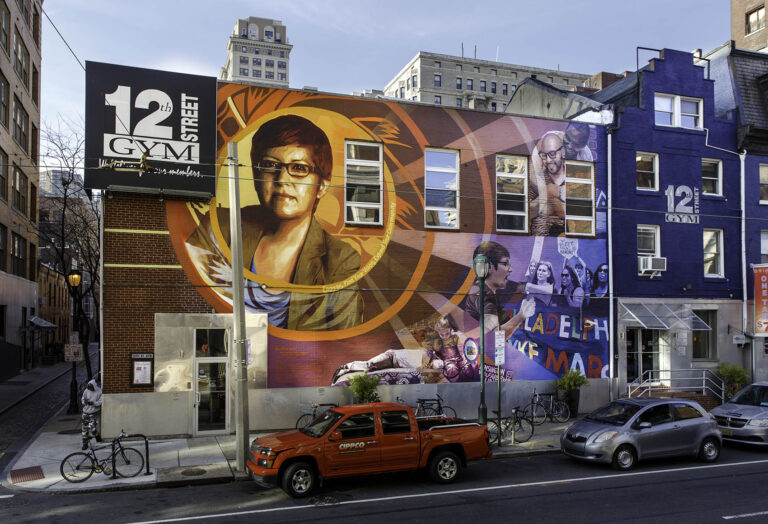 The Gloria Casarez mural by Michelle Angela Ortiz at 12th and Locust streets was painted over on Wednesday, December 23, 2020. (Photo by Steve Weinik/Mural Arts)