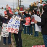 Nurses picket at the entrance to St Mary Medical Center in Langhorne, Pa. About 800 nurses went on strike on Nov. 17 citing long simmering grievances over wages and staffing levels. They returned to work after a two-day walkout. (Emma Lee/WHYY)