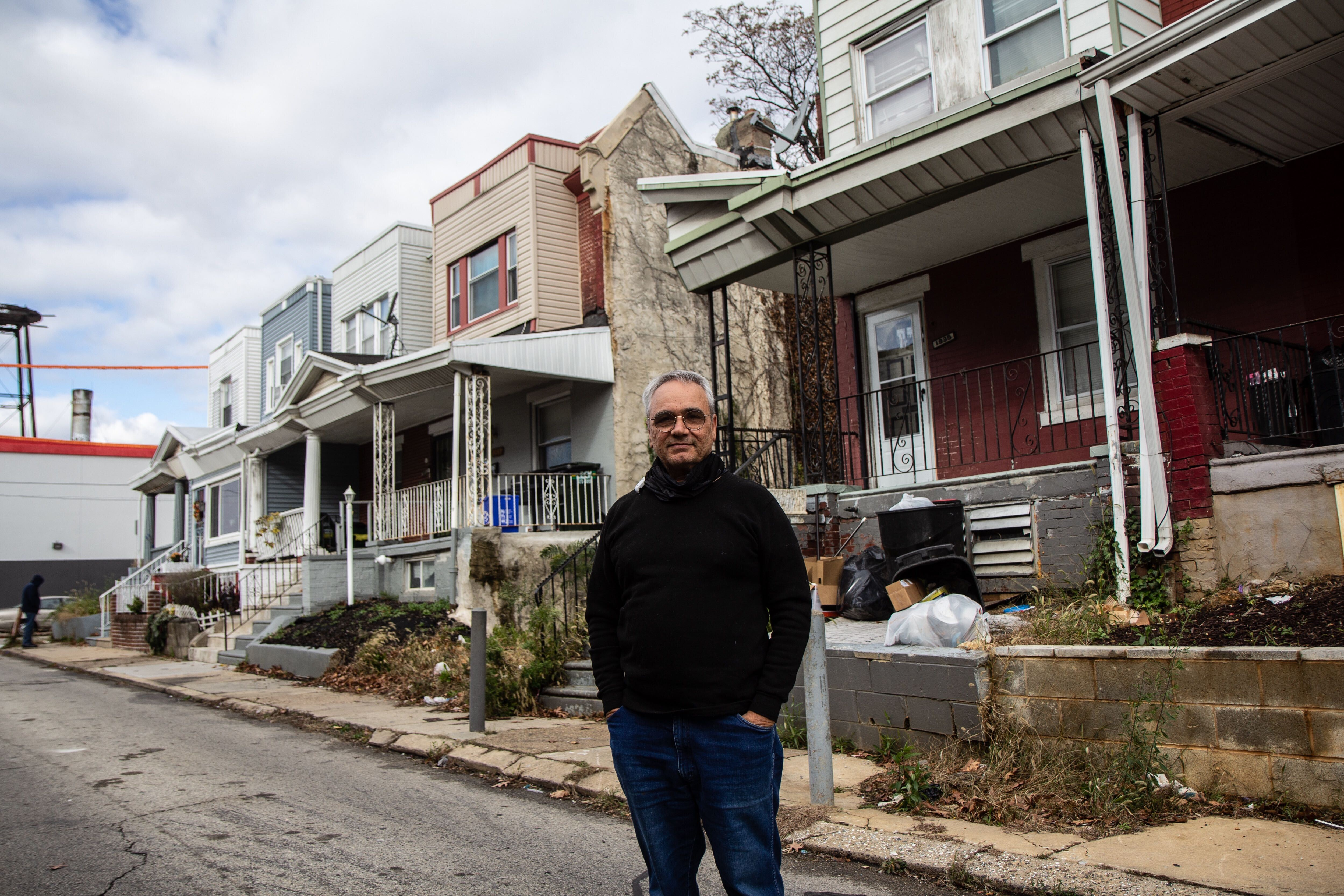 Moshe Attas in front of his property on Airdrie Street in Philadelphia