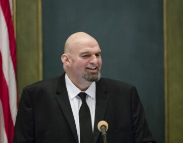 Pennsylvania Lieutenant Governor John Fetterman speaks after he was sworn into office on Tuesday, Jan. 15, 2019, at the state Capitol in Harrisburg, Pa. (Matt Rourke / AP Photo)