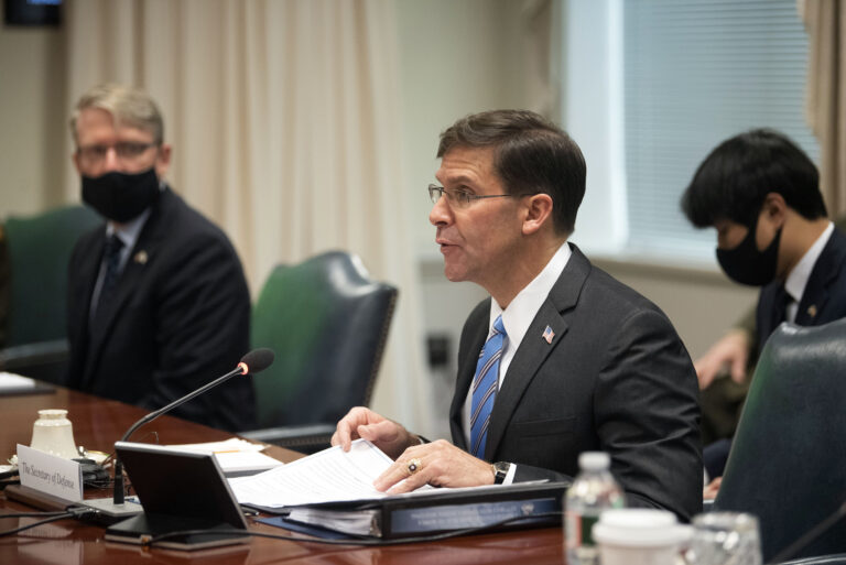 Defense Secretary Dr. Mark T. Esper meets with Korean Defense Minister Suh Wook at the Pentagon on Wednesday, Oct. 14, 2020 in Washington.   (AP Photo/Kevin Wolf)